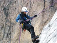 Rappeling down the glacier.
