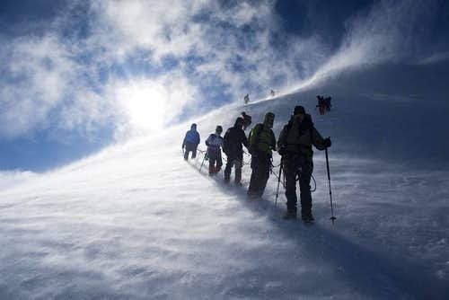 Konyi (László Várkonyi) leading a group on Mont Blanc