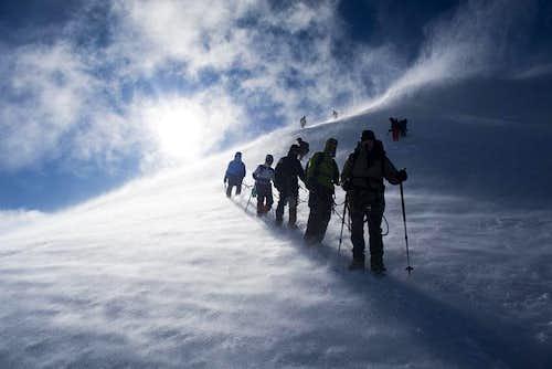 Konyi (László Várkonyi) leading a group on Mont Blanc