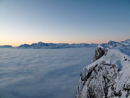 Tennengebirge, Hoher Göll and Steinernes Meer rising above an early morning sea of cloud