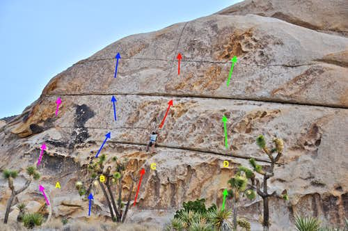 Routes of west face of the west wall