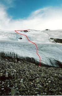 Route up the Molar glacier....