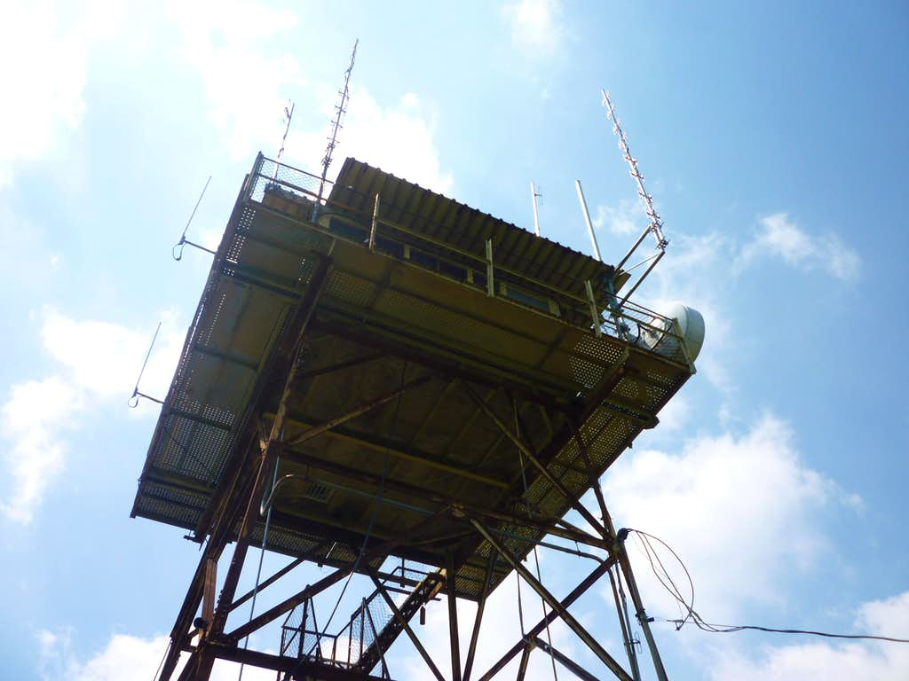 Looking up at the fire tower