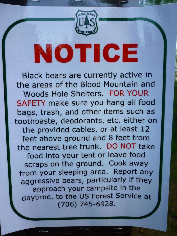 (P) Heed Forest Service bear warnings