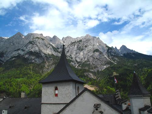 The roof of the Werfen château and the Tennengebirge range behind