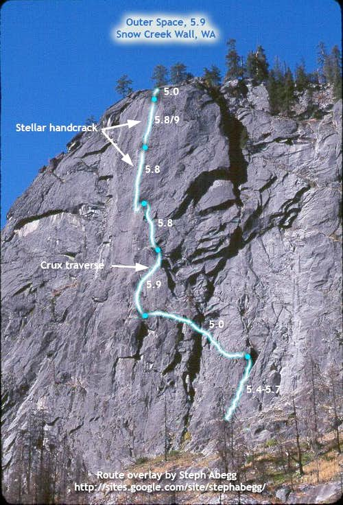 Route Overlay for Outer Space, Snow Creek Wall, WA