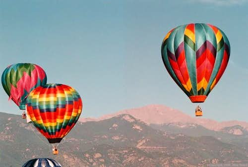 Hot air balloons in front of...