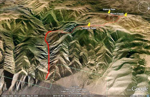 Google Earth™ showing the route in the Pine Nuts from Red Canyon