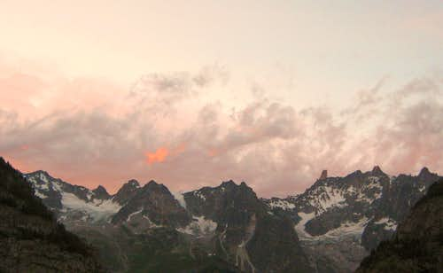 Aiguille de Rochefort at sunset
