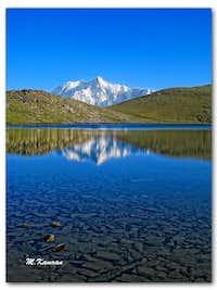 Ultar sar, 7,388 m (24,239 ft) view from Rush lake (4,694 meters 0