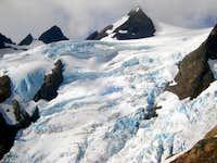 crevasse ridden glacier