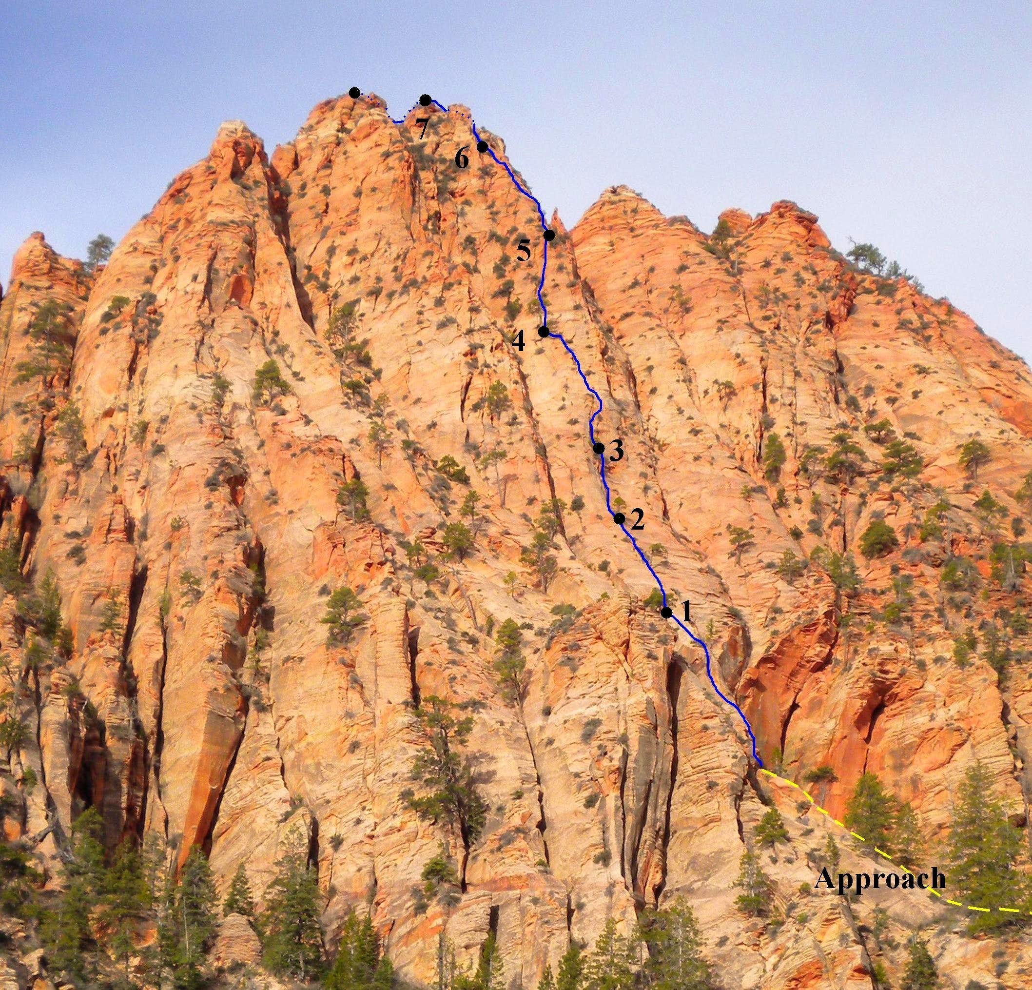 VegeMight Buttress, 5.8R, 1,100 ft., Red Butte, Zion, UT