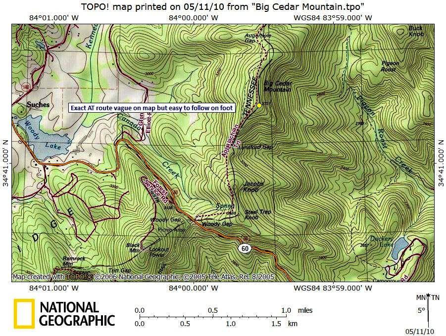 Big Cedar Mountain Route Map