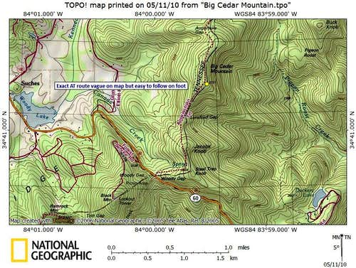 Big Cedar Mountain Route Map