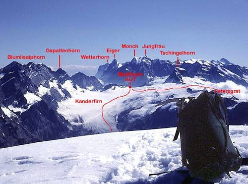 View east from the summit of Balmhorn