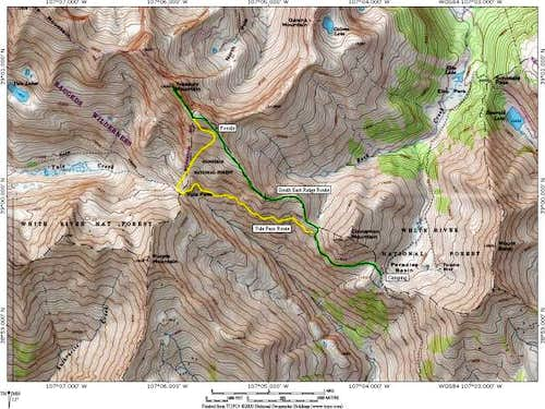 Topographic map of the routes...