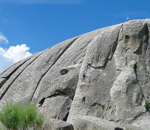 Climbers tackling a route on...