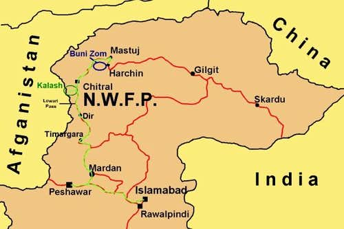 The map of NWFP in Hindikush...