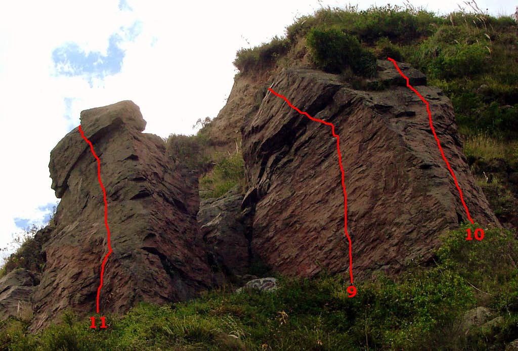 Upper slabs. Crags 2 and 3.