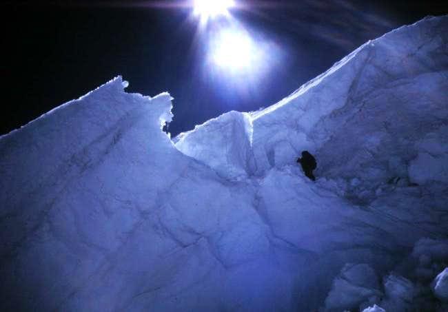 Matt climbing a 90° section...