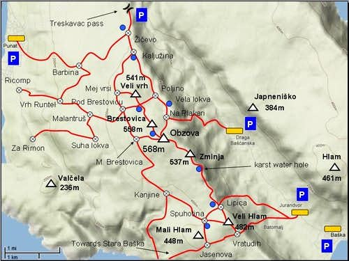 Map of Obzova area