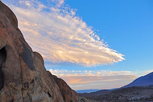Sun sets on the Alabama Hills