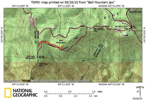 Ball Mountain Route Map