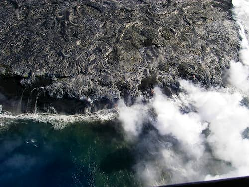 lava spilling into the ocean