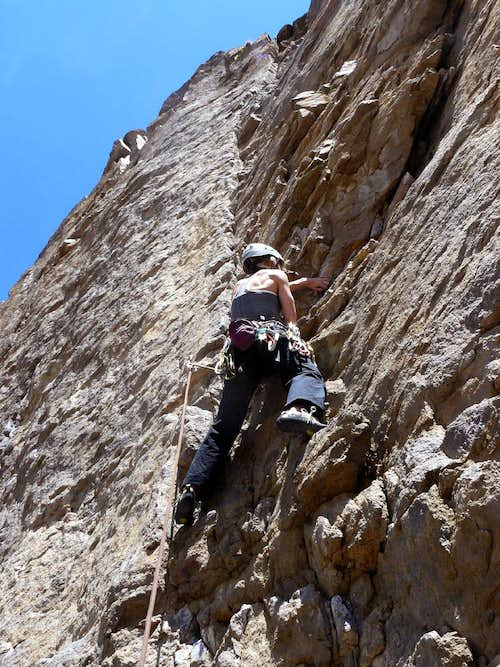 Lisa Climbing in the Lower Gorge