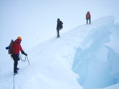 Crevasses close to 13000 feet