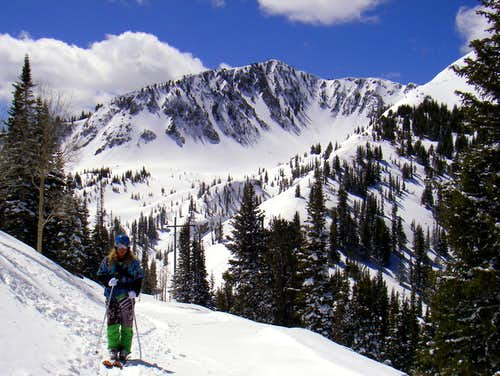 Troy skinning up Twin Lakes Pass