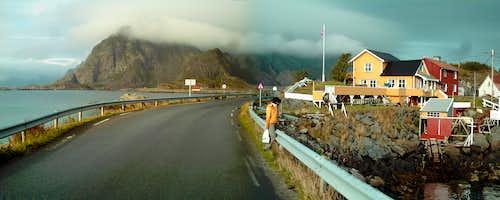 view from Henningsvære towards Vågakallen