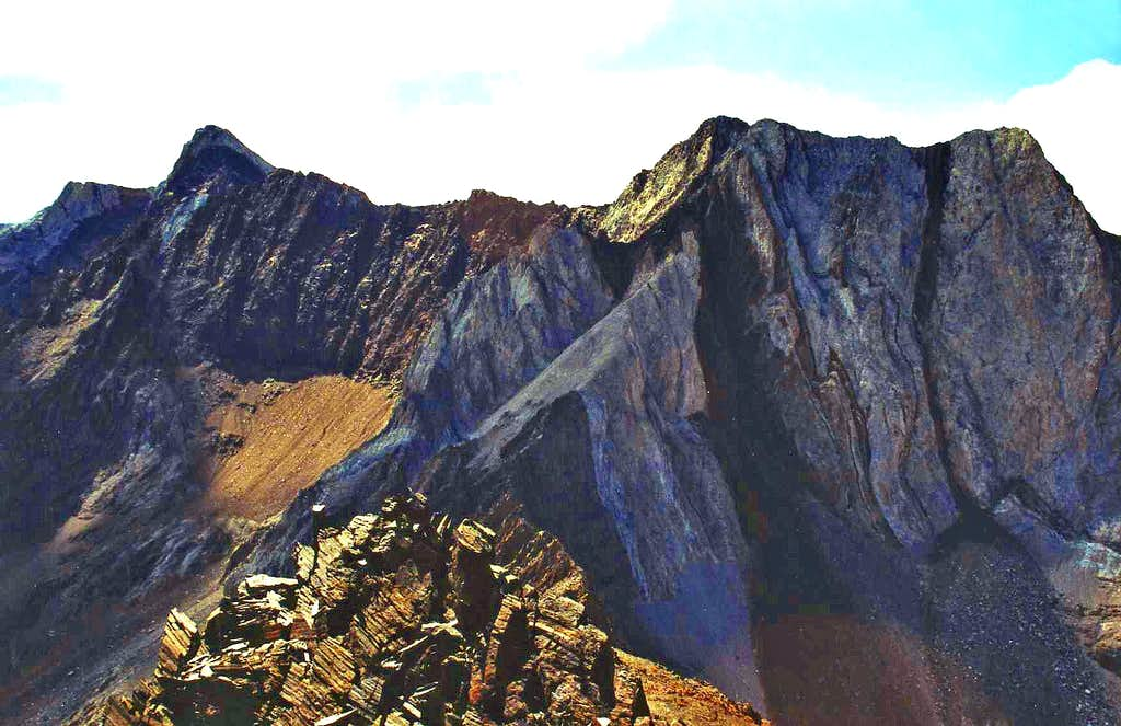 Mt. Baldwin, 12,615'  and Great White Fang, 12,240'  from Mt. Aggie