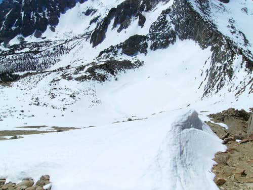 View down to Kearsarge Pass
