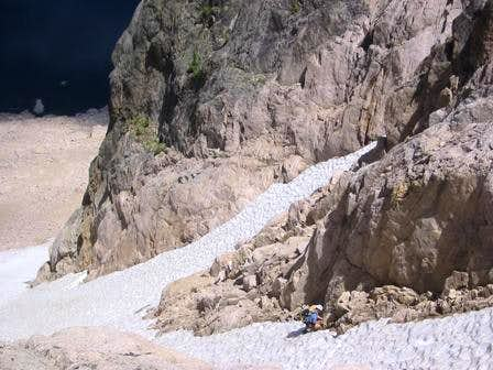 The north couloir splits in...