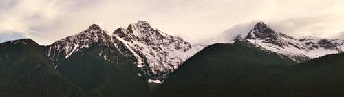 Colonnial and Pyramid Peaks
