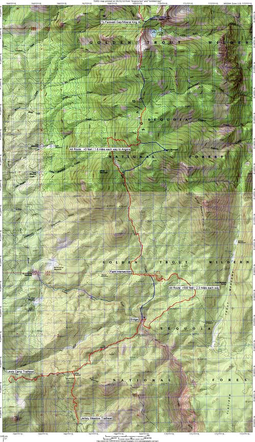 Route Map for Angora Mountain and Coyote Peaks from the South
