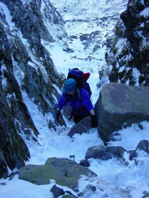 Climbing in Curved Gully on...