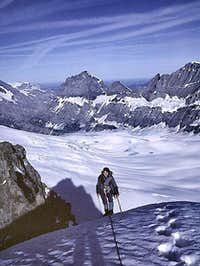 The last few steps to the summit of Tschingelhorn