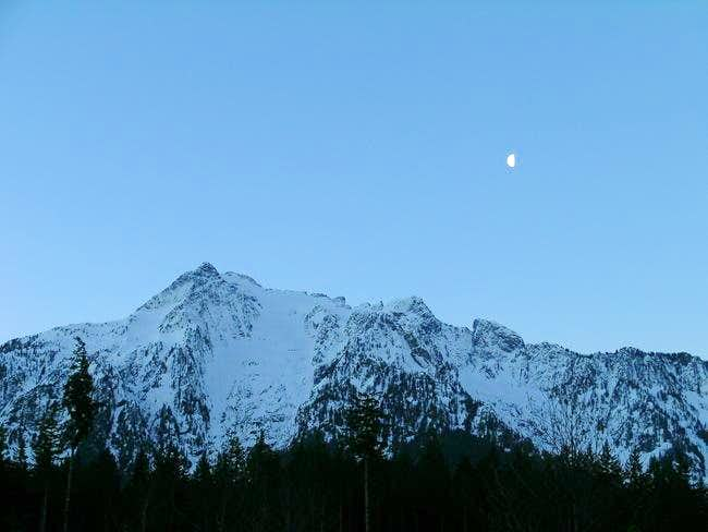 Pre-dawn view of Whitehorse Mountain from Darrington, Feb. 12, 2004.