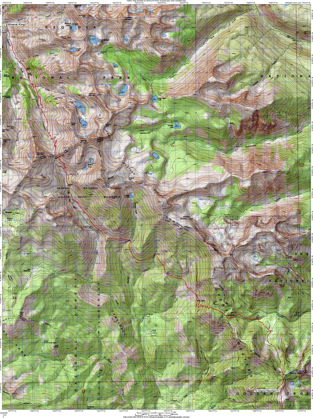 Route Map for Coyote Peaks from Mineral King