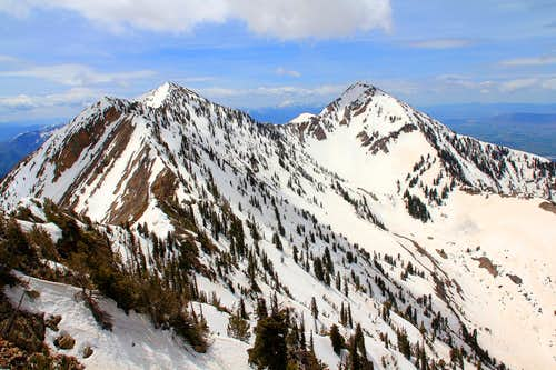 Provo Peak summits, east and west.