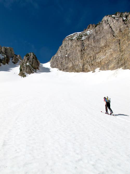 Skinning the Apron of the Twin Couloirs