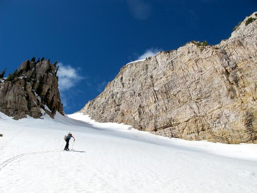Skinning the Twin Couloirs