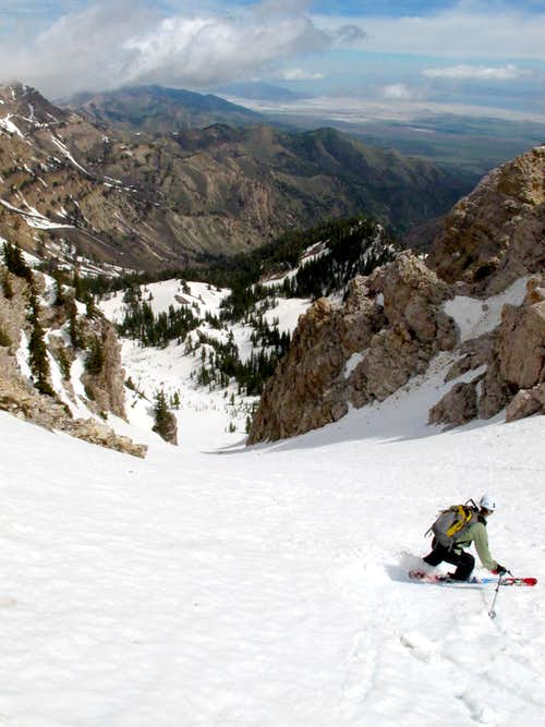 Skiing the Twin Couloirs