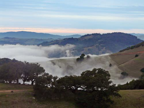 Winter fog hugging the hills