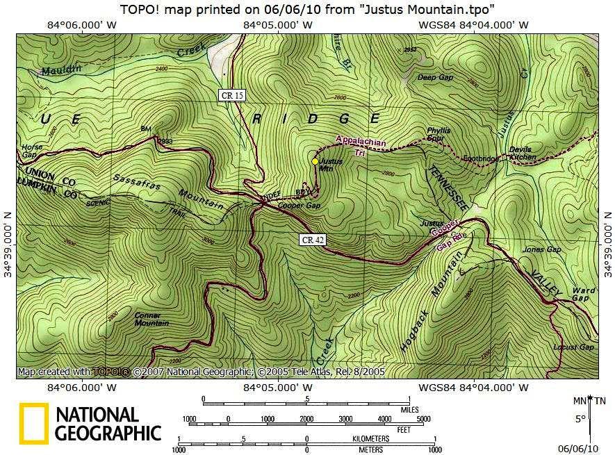 Justus Mountain Route Map