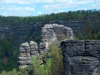 View to the sandstone cliffs of the Bohemian Switzerland