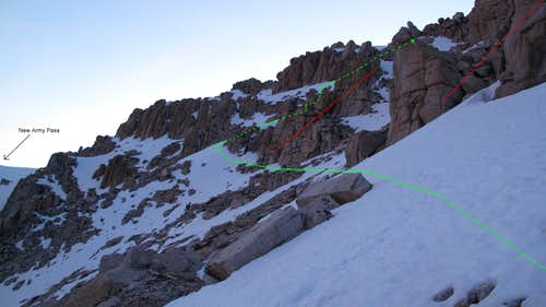 Snow ascent portion of the Army Ridge route