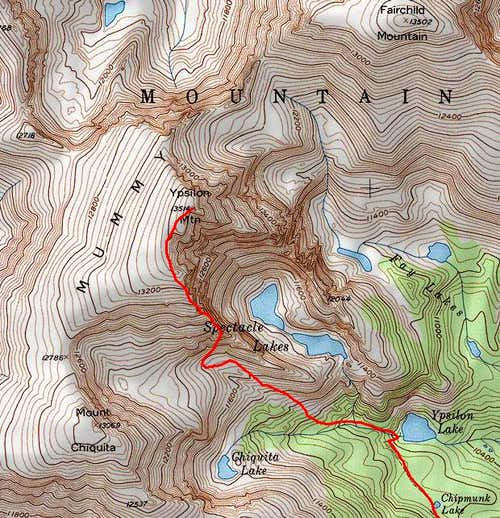 Map of Donner Ridge route on...